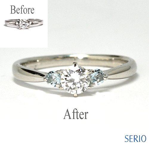 リフォームしたダイヤとアクアマリンのリング納品